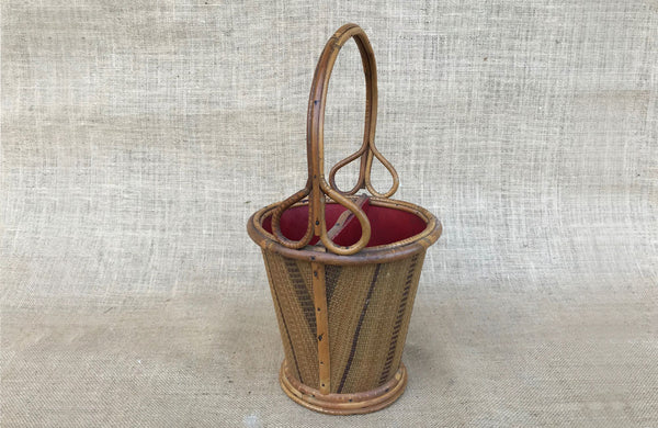 A Vintage French Rattan Cutlery Basket