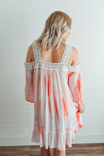 Pink and White Tie Dye Cold Shoulder Dress