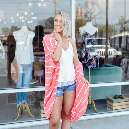 Coral and White Stripe Cardigan