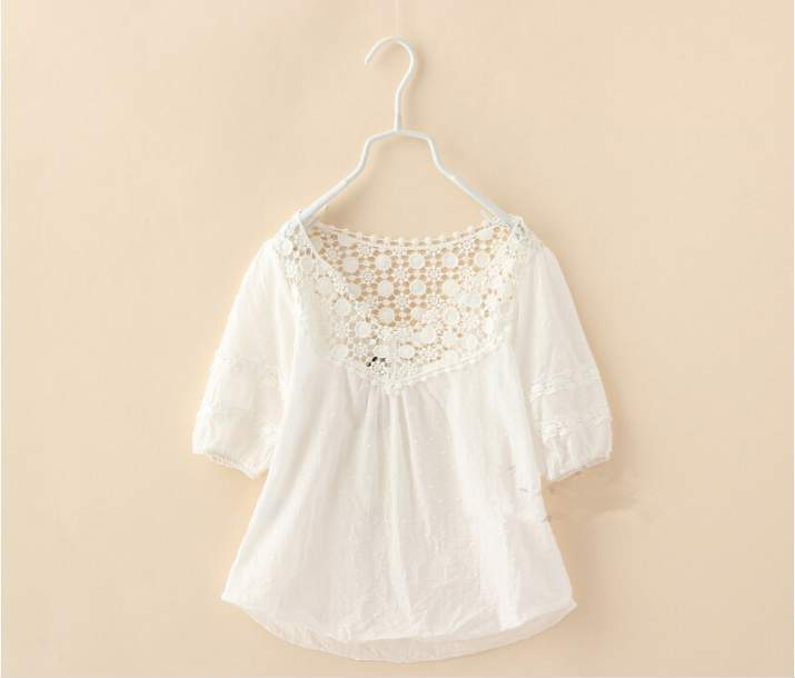Girls Lace Embroidered White Shirts