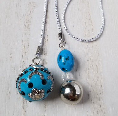 Handmade Blue Planner Dangle Charm Bookmark