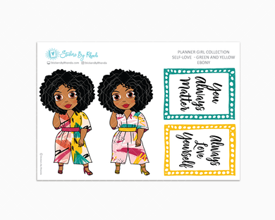 Ebony - Self-Love - Green and Yellow - Limited Edition - Planner Stickers