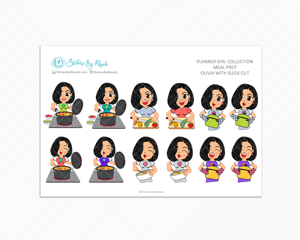 Olivia With Sleek Cut - Meal Prep/Cooking Planner Stickers