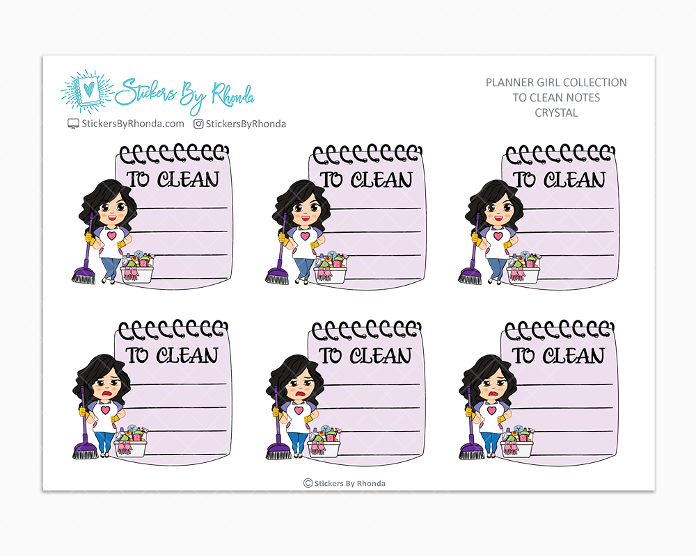 Crystal - To Clean Notes - Planner Stickers - Planner Girl Stickers