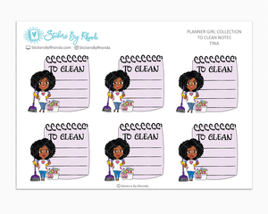 Tina - To Clean Notes - Planner Stickers - Planner Girl Stickers