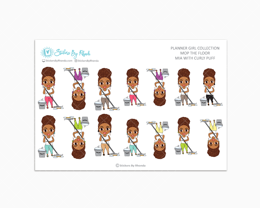Mia With Curly Puff - Mop The Floor - Cleaning Stickers - Planner Stickers