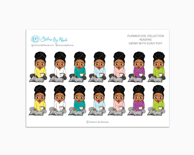 Ebony With Curly Puff - Reading Planner Stickers - Me Time Planner Stickers