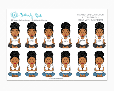 Ebony With Curly Puff - Just Breathe 2 - Planner Stickers