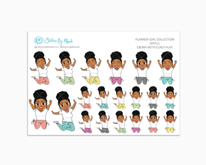 Ebony With Curly Puff - Joyful Planner Stickers