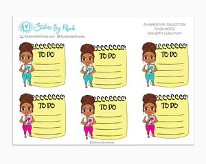 Mia With Curly Puff - To Do Notes - Planner Stickers - Planner Girl Stickers