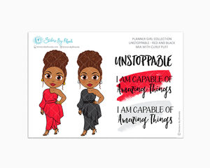 Mia With Curly Puff - Unstoppable - Red & Black - Limited Edition - Quote Stickers - Planner Girl Collection - Planner Stickers