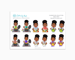 Tina With Curly Puff - Meal Prep/Cooking Planner Stickers