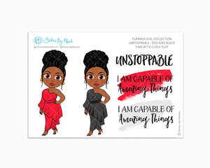 Tina With Curly Puff - Unstoppable - Red & Black - Limited Edition - Quote Stickers - Planner Girl Collection - Planner Stickers