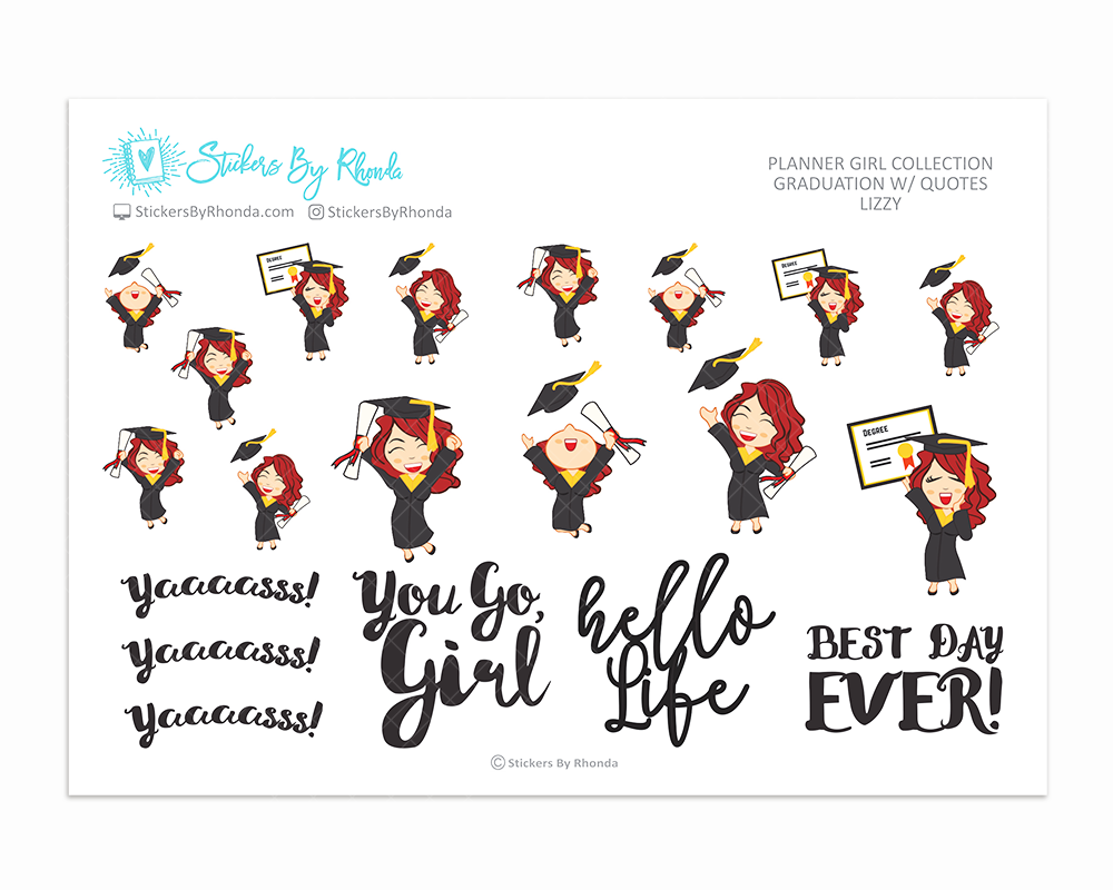 Graduation Planner Stickers w/ Quotes - Lizzy