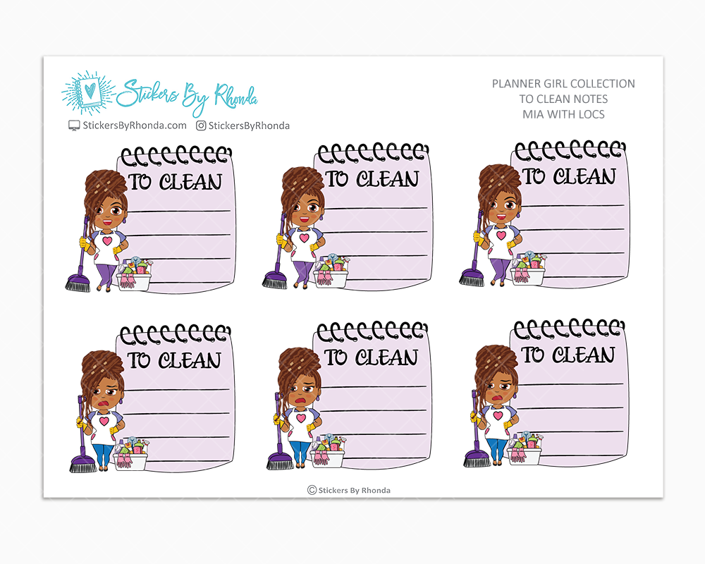 Mia With Locs  - To Clean Notes - Planner Stickers - Planner Girl Stickers