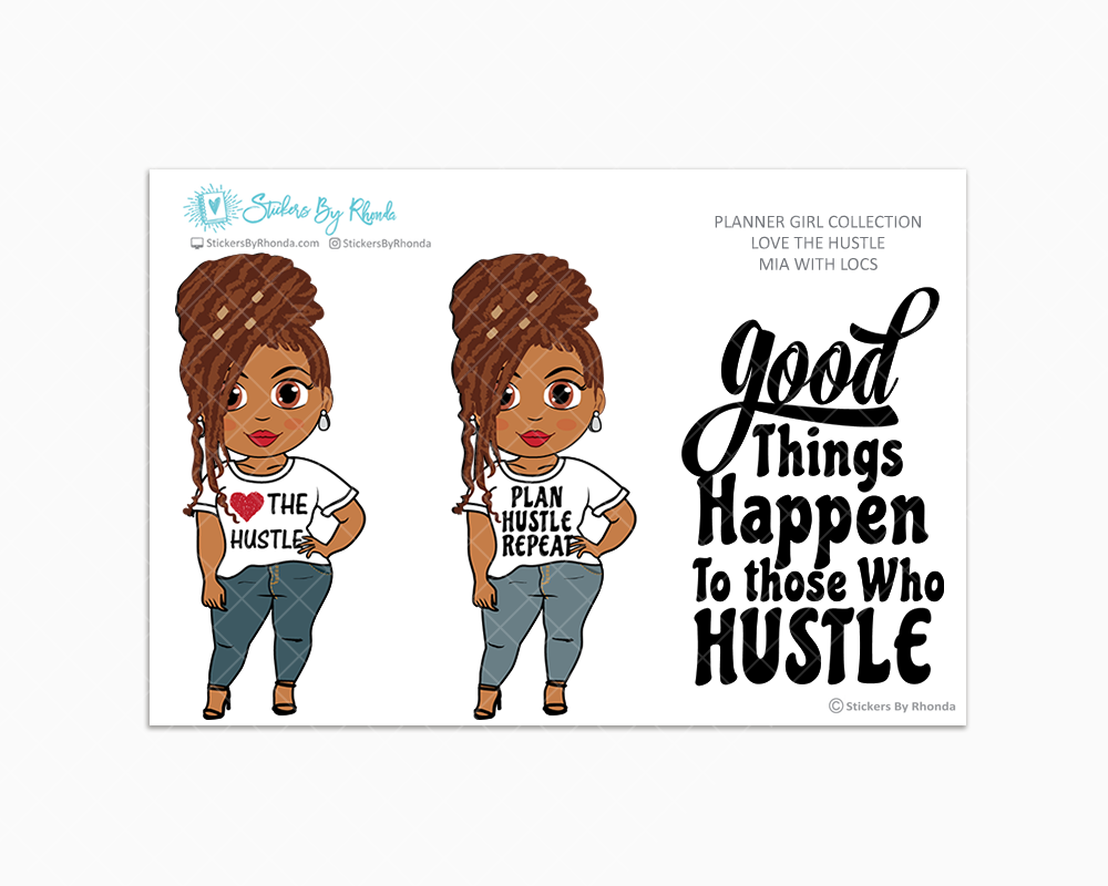Mia With Locs - Love The Hustle - Limited Edition - Planner Girl Stickers