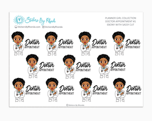 Ebony With Sassy Cut - Doctor Appointment #1 - Medical Planner Stickers