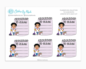 Jennifer With Sassy Cut  - To Clean Notes - Planner Stickers - Planner Girl Stickers