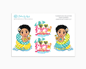 Jennifer With Sassy Cut - Enjoy Summer Glossy Stickers - Limited Edition - Planner Girl Collection - Planner Stickers