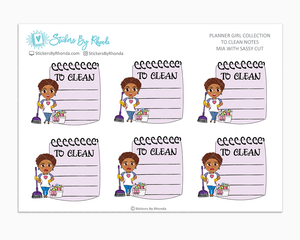 Mia With Sassy Cut  - To Clean Notes - Planner Stickers - Planner Girl Stickers