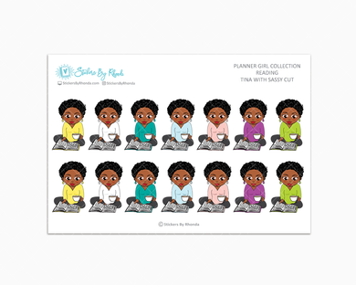 Tina With Sassy Cut - Reading Planner Stickers - Me Time Planner Stickers