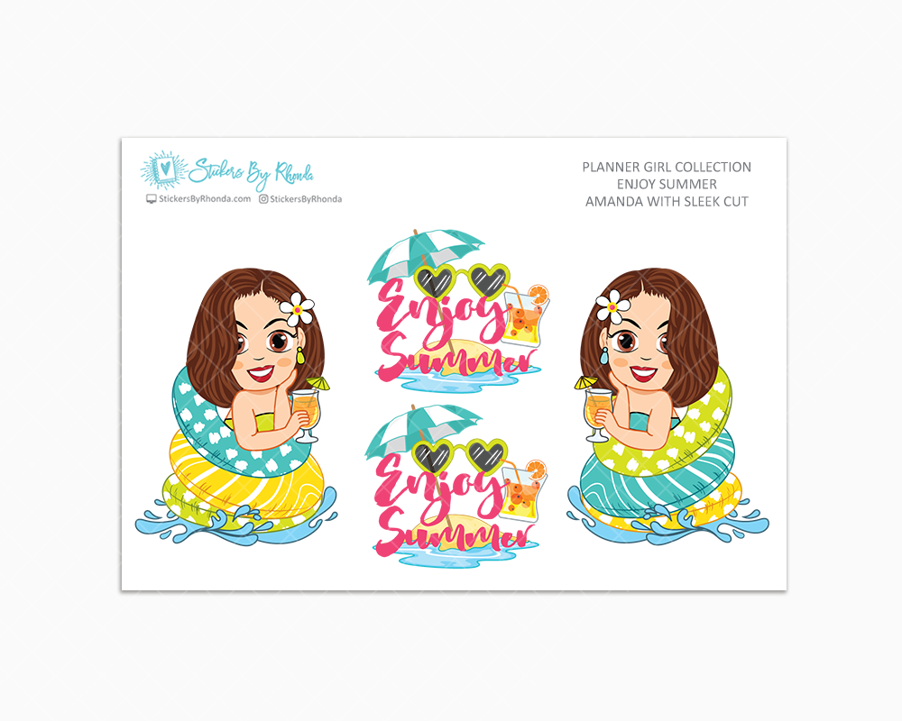 Amanda With Sleek Cut - Enjoy Summer Glossy Stickers - Limited Edition - Planner Girl Collection - Planner Stickers