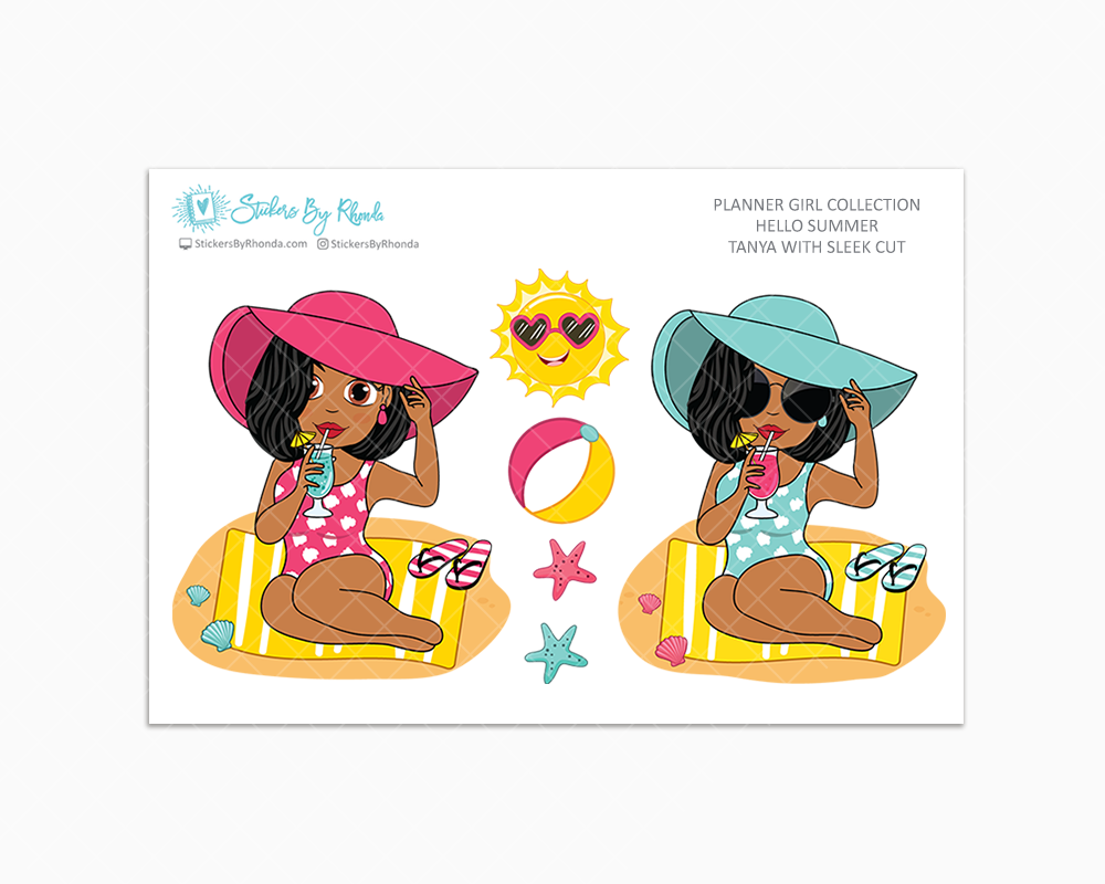 Tanya With Sleek Cut - Hello Summer Glossy Stickers - Limited Edition - Planner Girl Collection - Planner Stickers