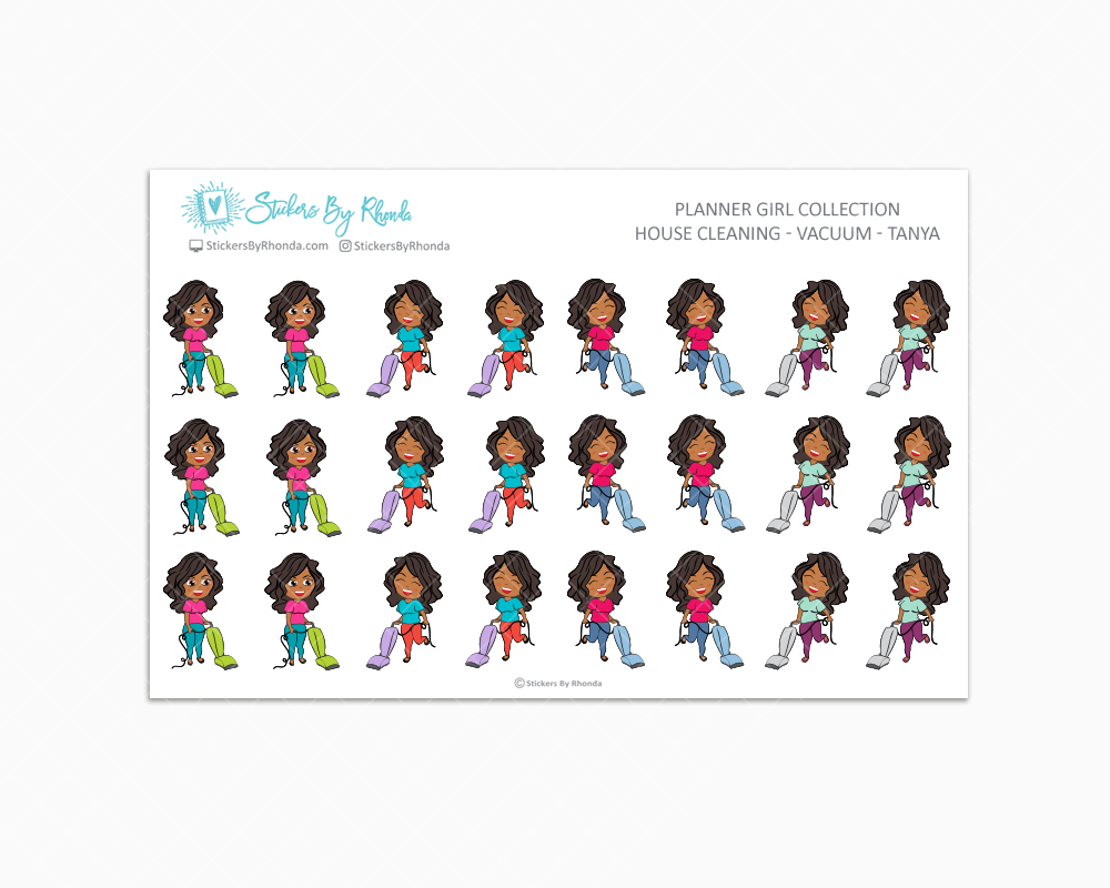 House Cleaning Planner Stickers - Vacuum - Tanya