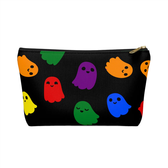Rainbow Gay Pride Ghosts Accessory or Makeup Pouch w T-bottom