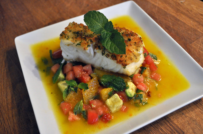 Baked Fish with Zucchini Medley