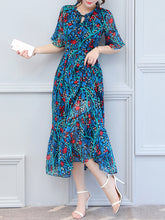 Hollow Out Printed  Chiffon Maxi Dress