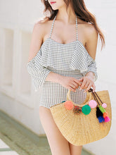 Halter  Flounce  Plaid One Piece