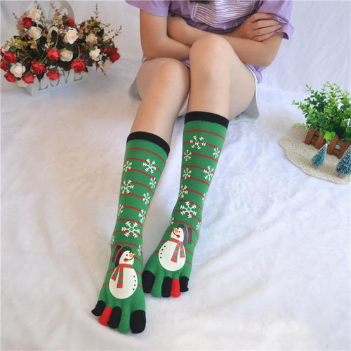 Christmas Warm Snowman Santa Claus Holding Socks In Five Fingered Stockings