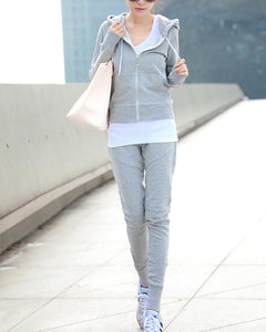 Hooded Long Sleeve Slim Casual Sports Three-Piece Set