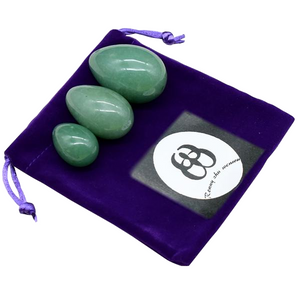Drilled Natural Green Aventurine Yoni Egg Set, 3 Pieces with Bag