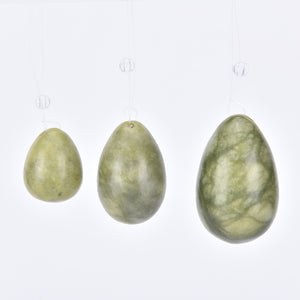 Drilled Natural Green Jade Yoni Egg Set, 3 pieces