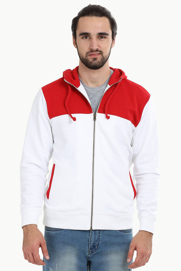 Colourblock Zipper Red Hoodie