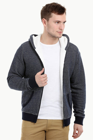 Men's Navy Fleece Sherpa Lined Hoodie