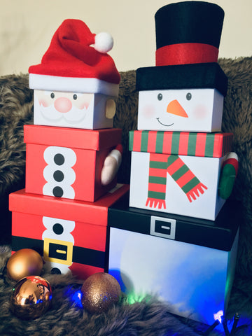 Santa & Snowman stacking Christmas gift box, set of 3.