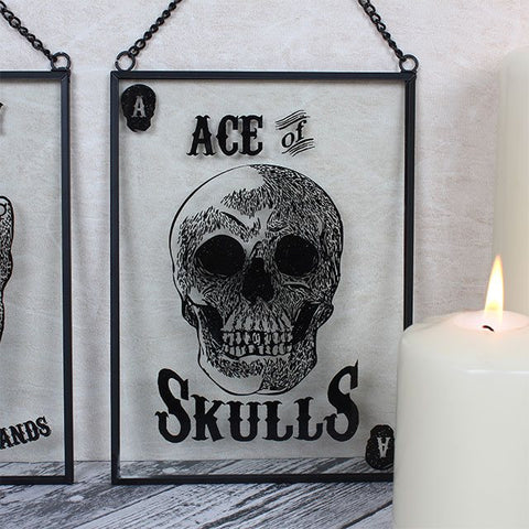 """Ace Of Skulls"" playing card/tarot card style galss wall hanging plaque/wall art."