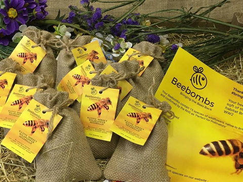 Beebombs wildflower seed bombs/packs contain 1000's of seeds to spread and encourage bees to come back.