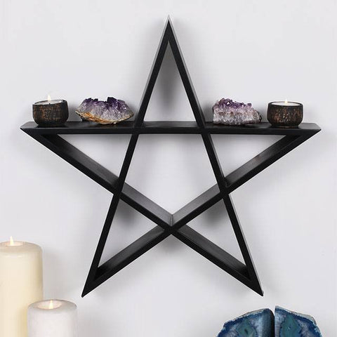 Wiccan, Pagan, Gothic black wooden Pentagram wall display shelf unit, approx. 40cm x 40cm