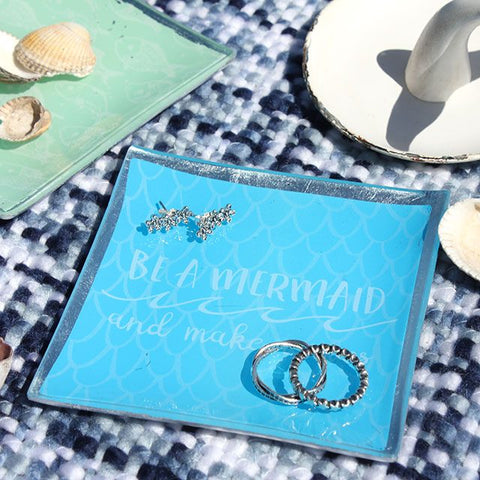 """Be A Mermaid And Make Waves"" mermaid scales and slogan blue ceramic trinket dish/jewellery tray."