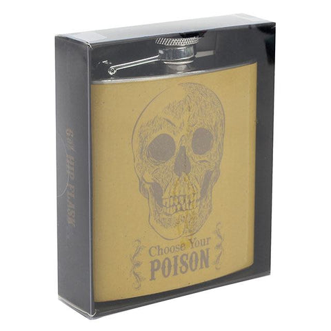 "Skull design 6oz stainless steel hip flask with ""Choose Your Poisin"" slogan, finished in a mustard yellow colour."