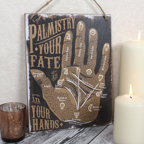 "Palmistry ""Your fate is in your hands"" wooden wall hanging palm reading sign/wall art."