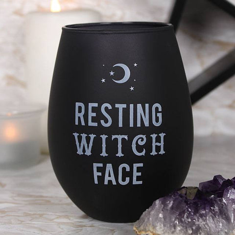 """Resting Witch Face"" black stemless wine glass, holds approx. 500ml. Comes boxed, perfect gift for Goths and Witches!"