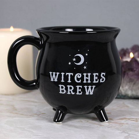 Halloween Witches Brew slogan black ceramic cauldron shape mug.