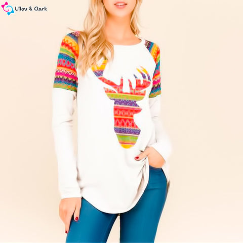 Women's Deer Colorful Long Sleeve Top