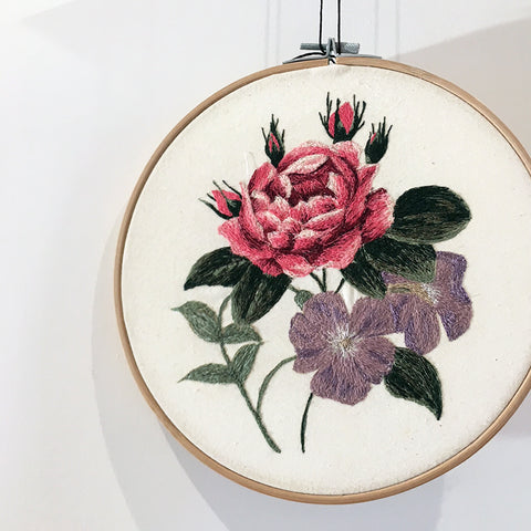Floral freehand machine embroidery hoop design. Made at Workshop, Leeds.