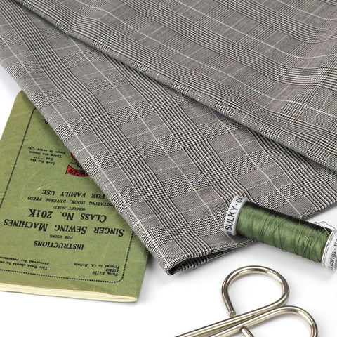Pale Grey Checked Fabric with Miniature Houndstooth